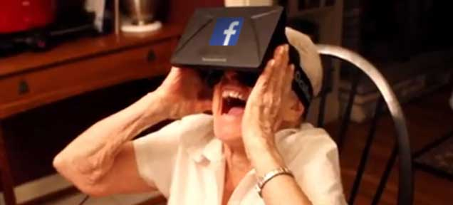 Grandma Using Facebook Virtual Reality Oculus