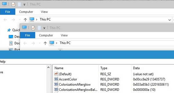 Set and Change Colors of Inactive Title bar in Windows 10