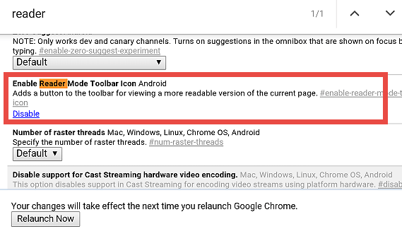 Chrome Reader mode enable