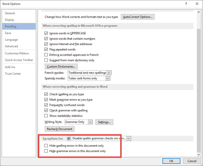 Enable spellin grammar checks microsoft office