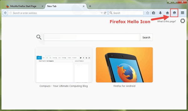 Firefox hello shown in toolbar