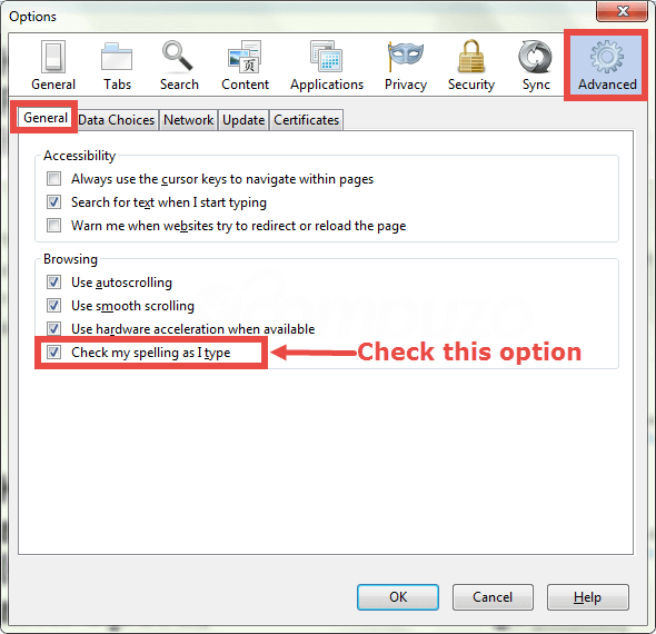 Firefox spelling check on off while you type