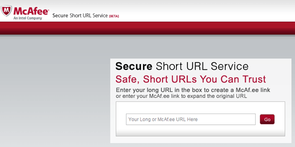 McAfee secure URL shrinker