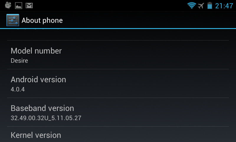 An HTC Desire Bravo upgraded to Android ICS (4.0.4)