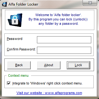 Alfa Folder Locker, Finally a Reliable Password Protection Tool