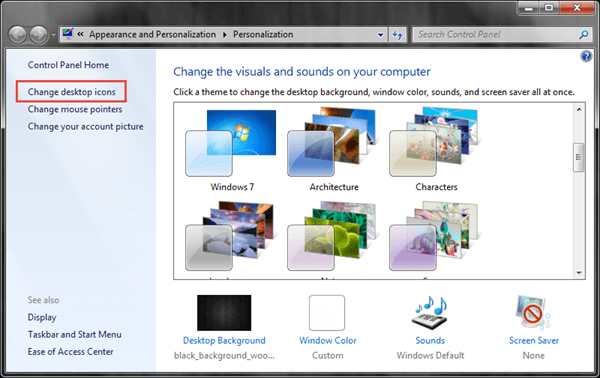 change desktop icons from personalize dialog