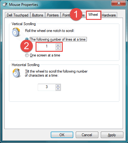 change mouse vertical scroll