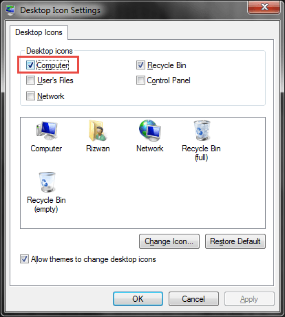 select Computer checkbox to bring it to desktop
