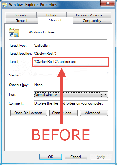 settings of explorer to open libraries folder