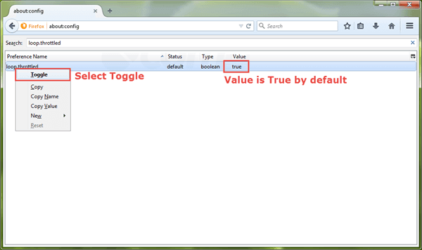 toggle value from true to false