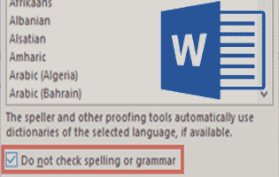 Disable Spelling & Grammar Check for a Specific Paragraph in MS Word